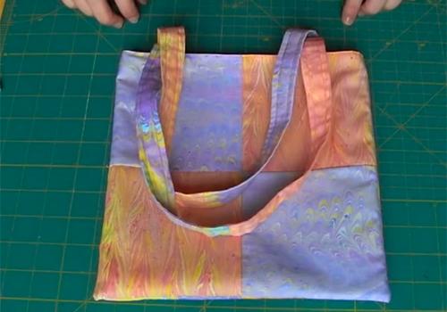 Come fare una borsa  parte esterna con pezzi di stoffa